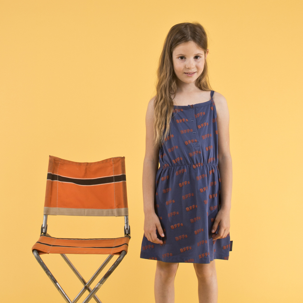 TINY COTTONS BFF´S SL DRESS, NAVY/SIENNA
