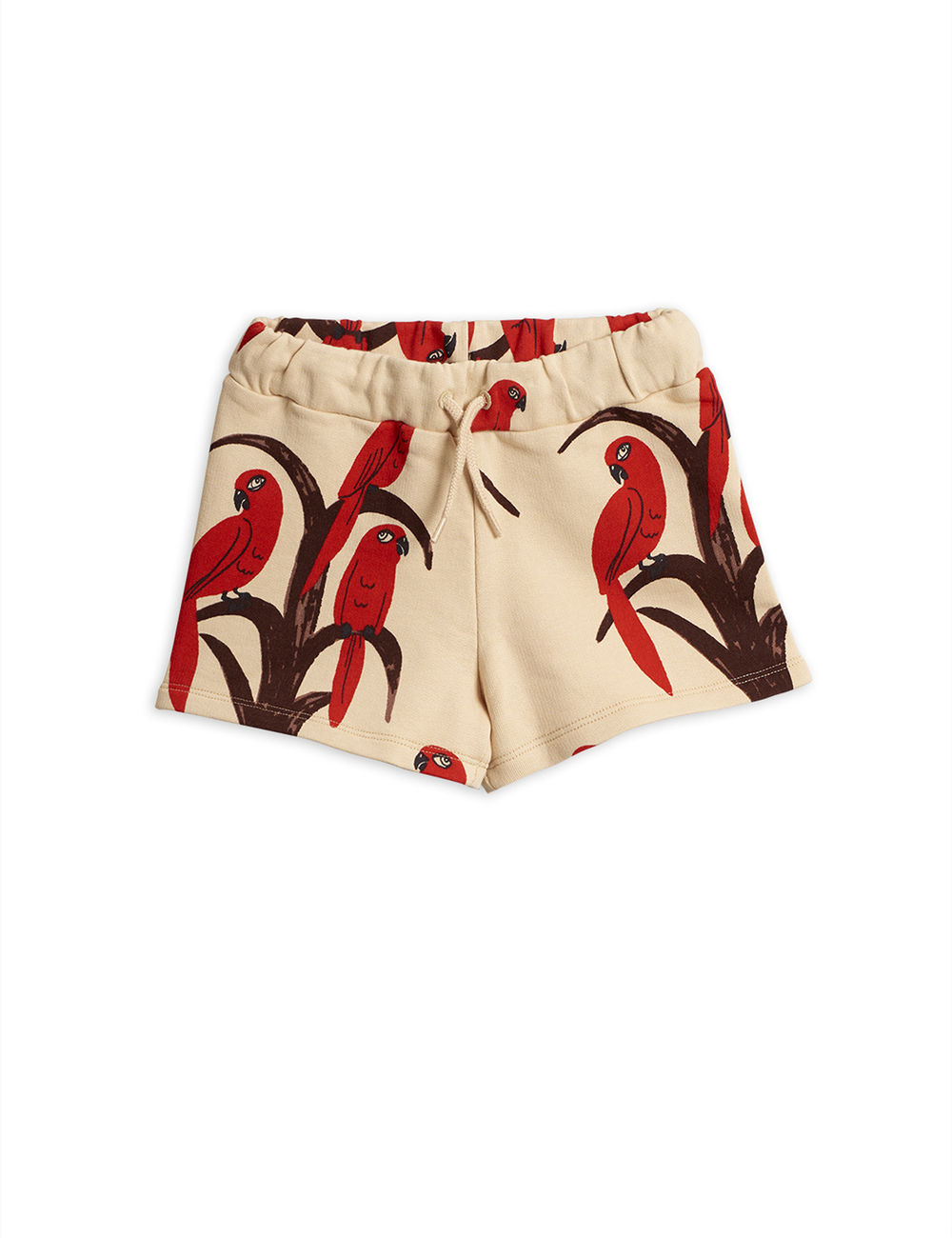 MINI RODINI PARROT AOP SHORTS, RED