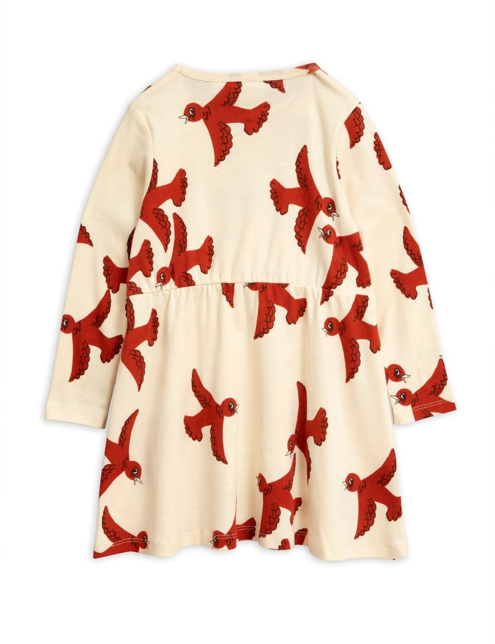 MINI RODINI FLYING BIRDS LS DRESS, OFFWHITE