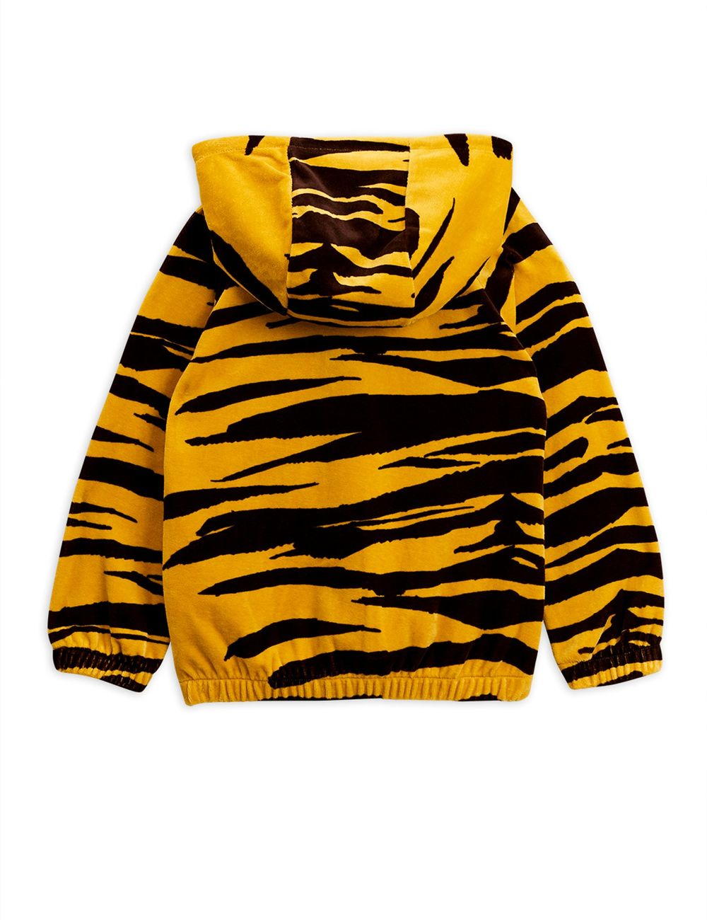 MINI RODINI TIGER VELOUR ZIP HOOD, BROWN