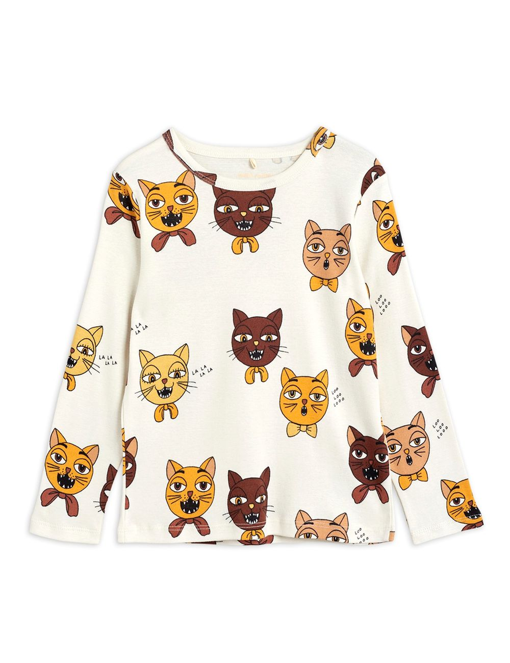 MINI RODINI CAT CHOIR AOP LS TEE, OFFWHI