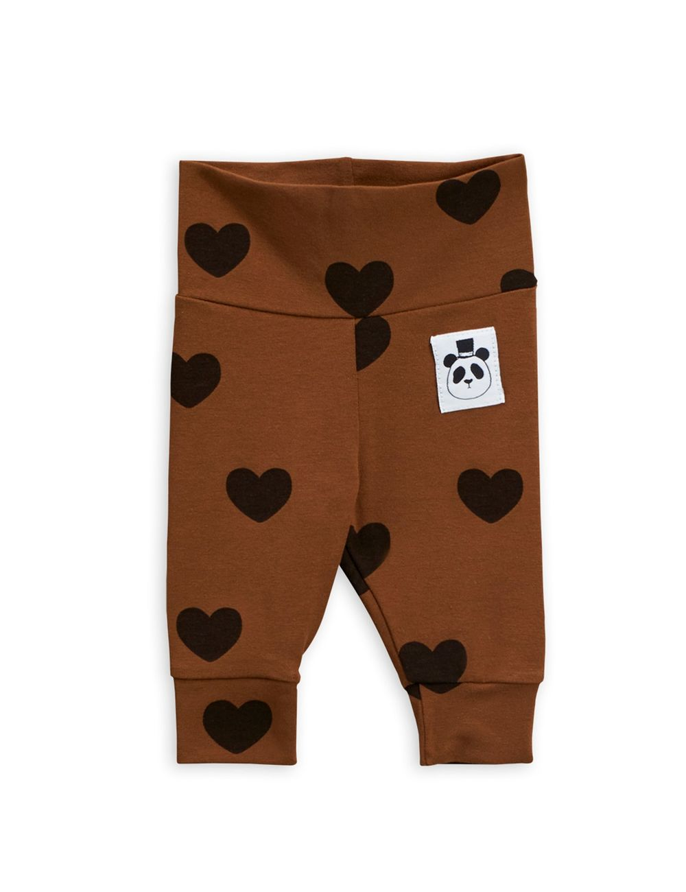 MINI RODINI HEARTS NB LEGGINGS, BROWN