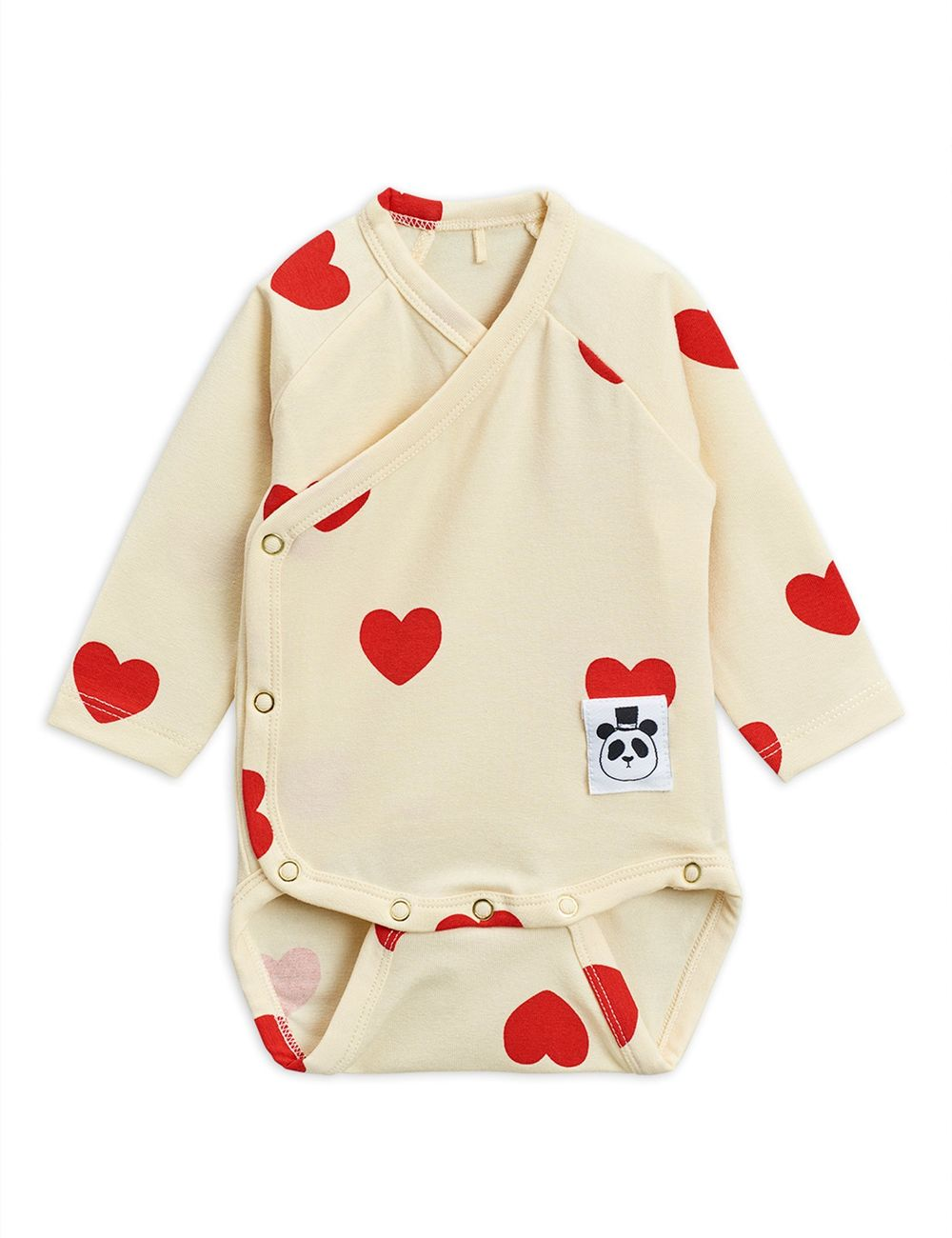 MINI RODINI HEARTS WRAP BODY, OFFWHITE