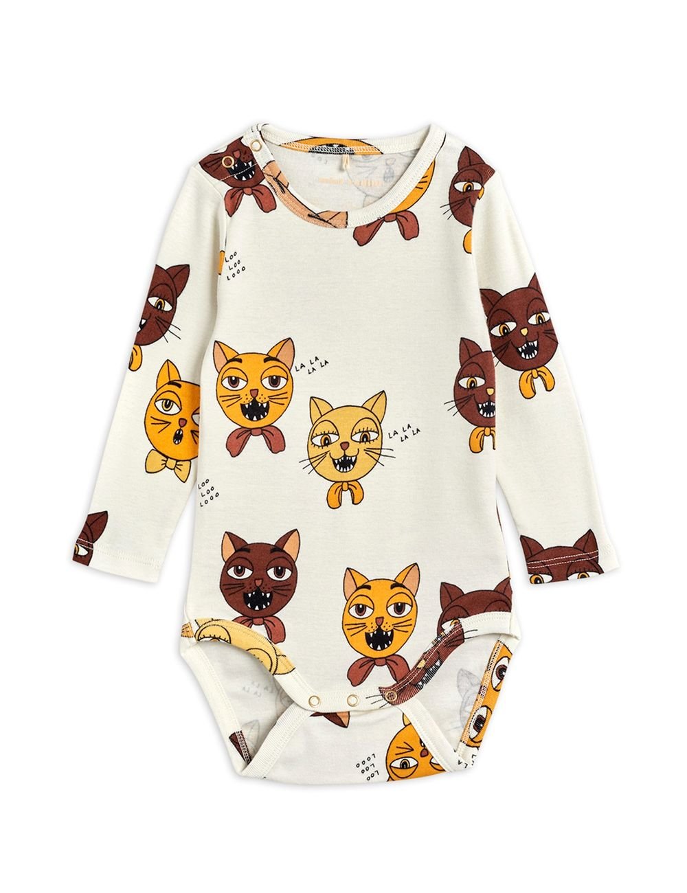 MINI RODINI CAT CHOIR AOP LS BODY, OFFWH