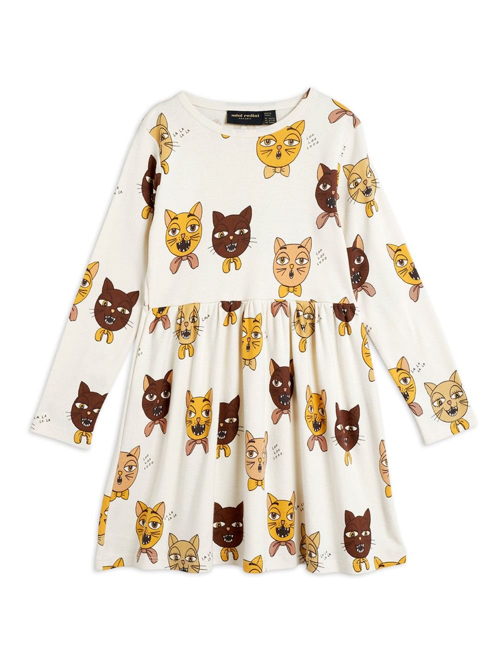 MINI RODINI CAT CHOIR AOP LS DRESS, OFFW