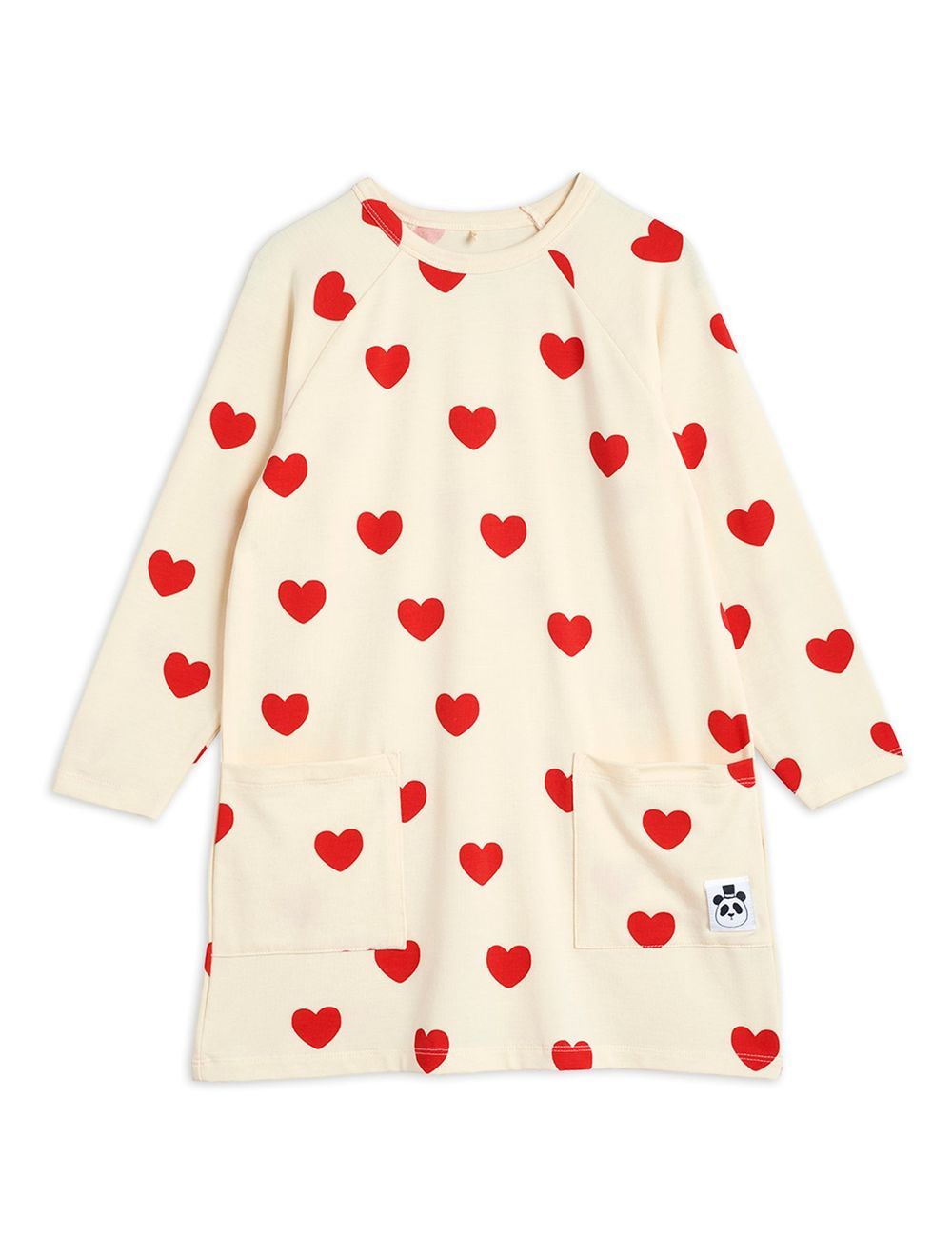 MINI RODINI HEARTS LS DRESS, OFFWHITE