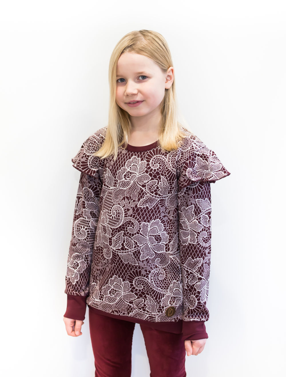 BLAA CANBERRA KNITTED LS, LACE CHOCOLATE