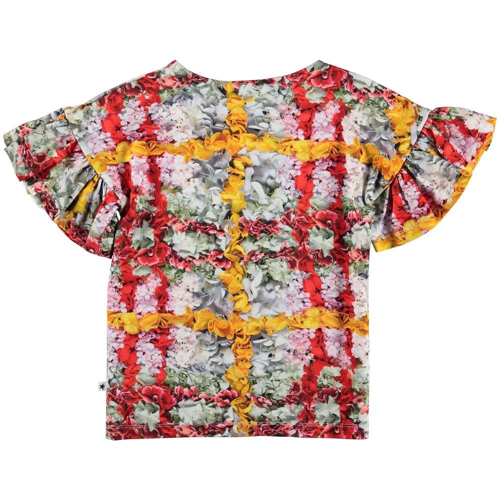 MOLO RAYAH T-SHIRT, CHECKED FLOWERS