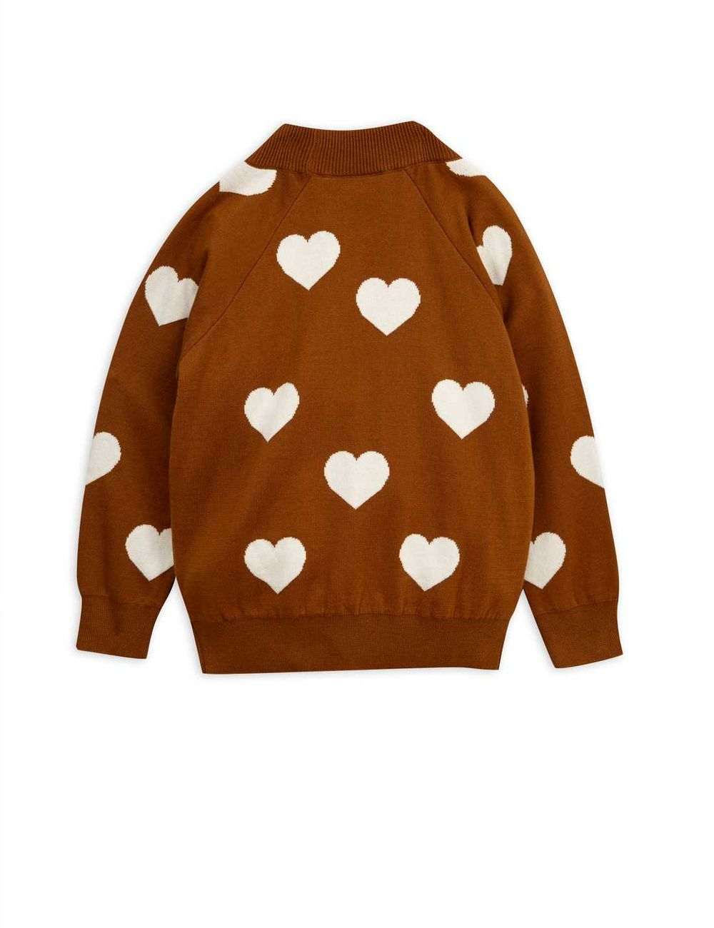 MINI RODINI KNITTED HEART SWEATER, BROWN
