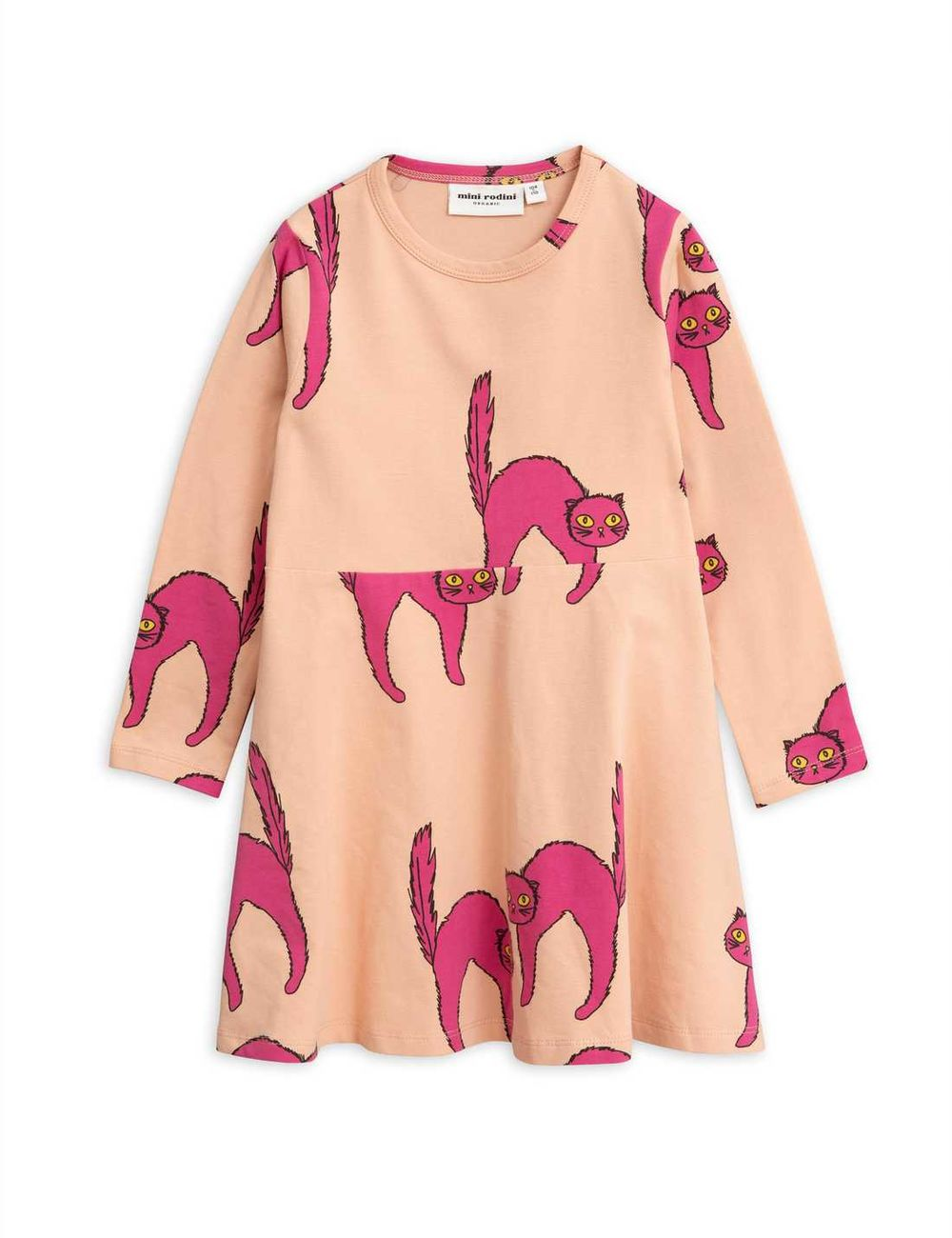 MINI RODINI CATZ LS DRESS, PINK