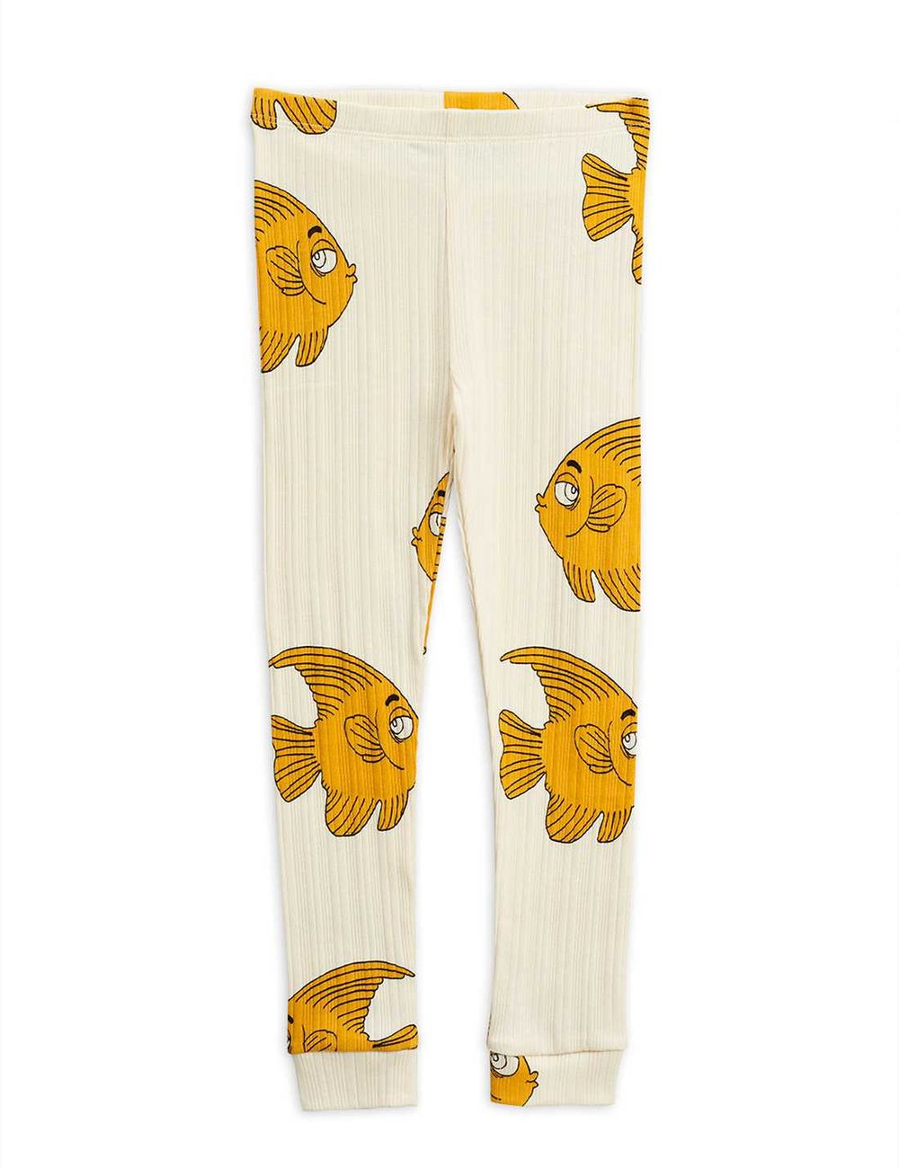 MINI RODINI FISH AOP LEGGINGS, OFFWHITE