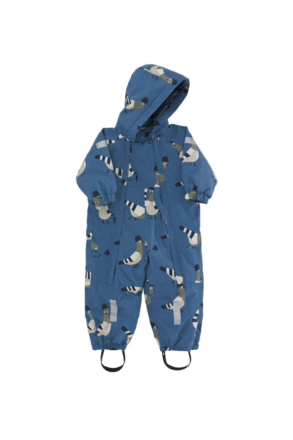 TINY COTTONS PIGEONS SNOWSUIT, LIGHT NAVY/LIGHT GREY