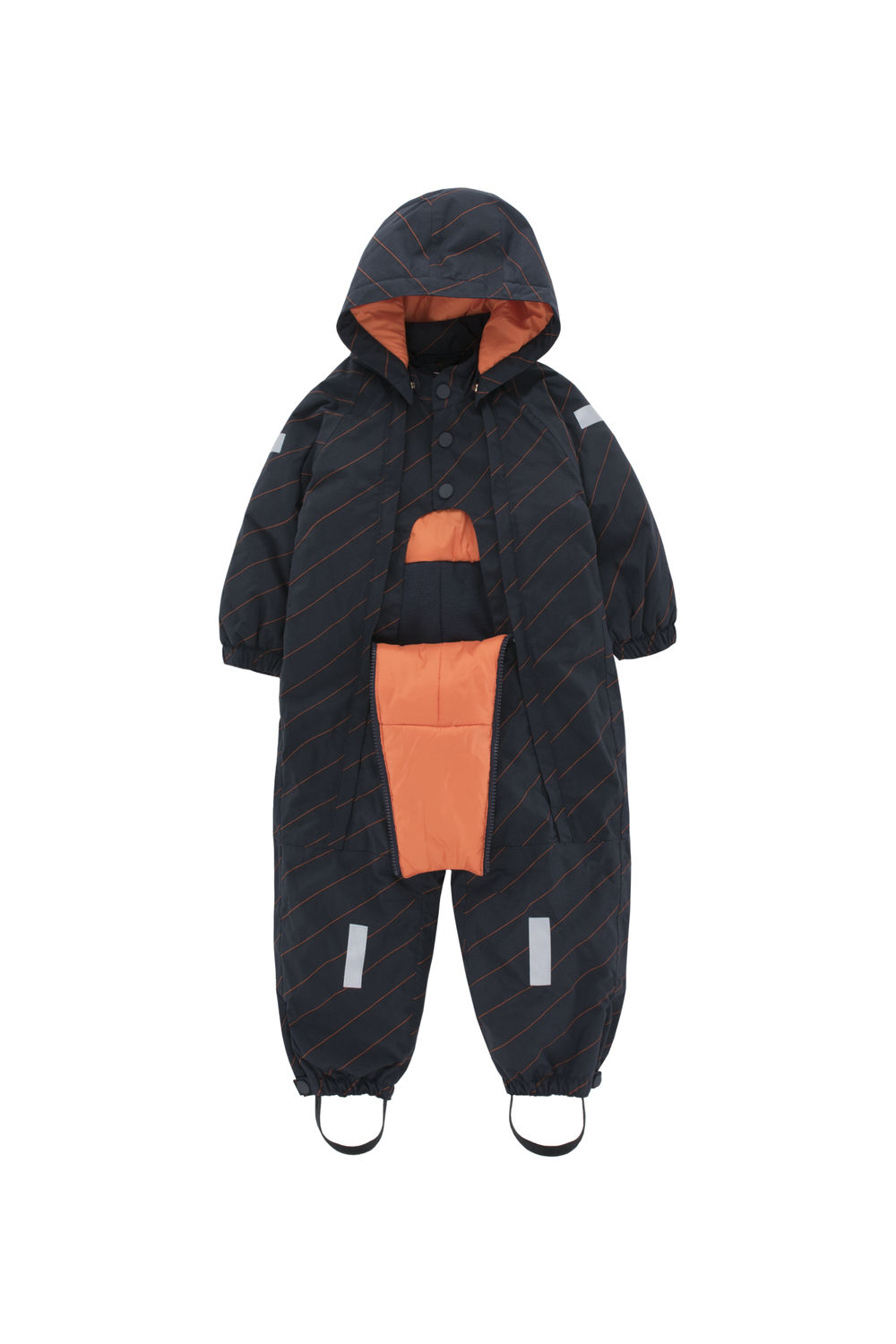 TINY COTTONS DIAGONAL STRIPES SNOWSUIT, NAVY/RED