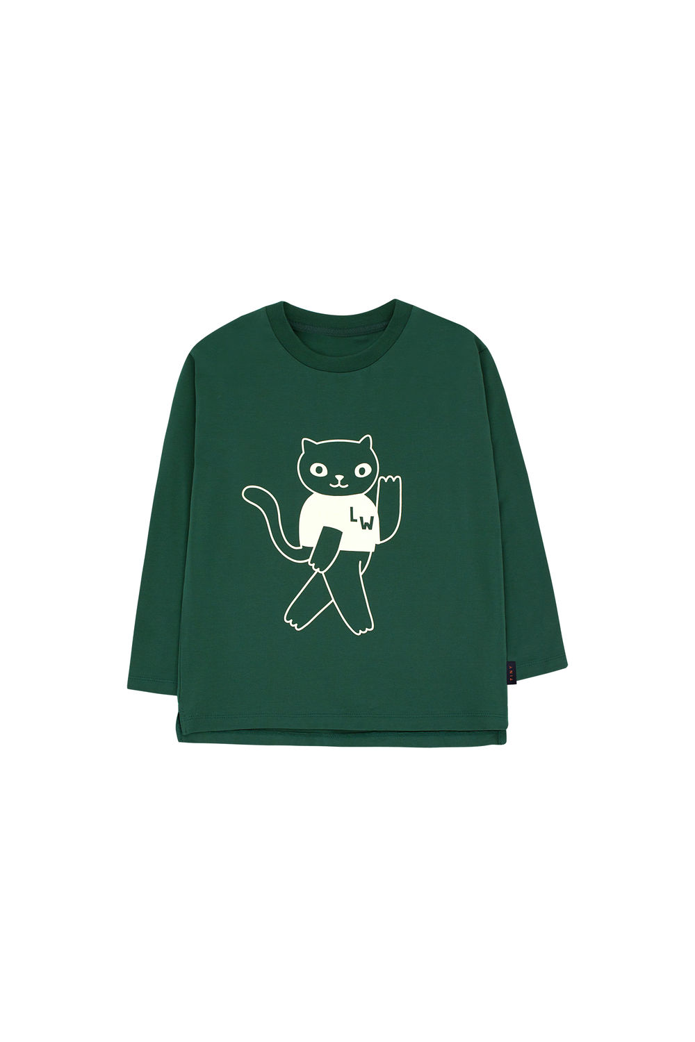 TINY COTTONS CAT LS TEE, GREEN