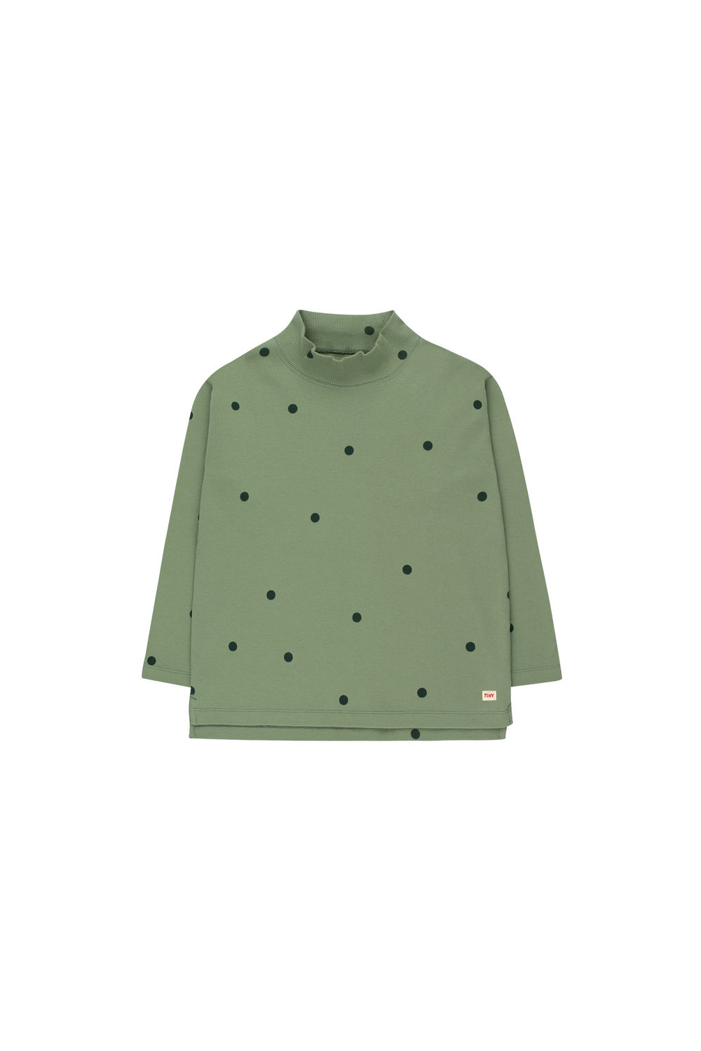 TINY COTTONS DOTS MOCKNECK TEE, GREEN