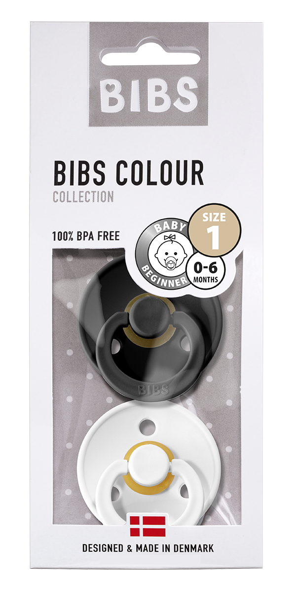BIBS COLOUR TUTIT 2-PACK, BLK/WHITE (luonnonkumi)
