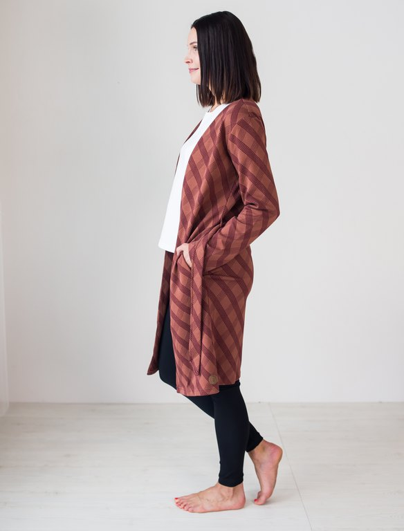BLAA KOBILE KNITTED LONG JACKET, CHECK BROWN