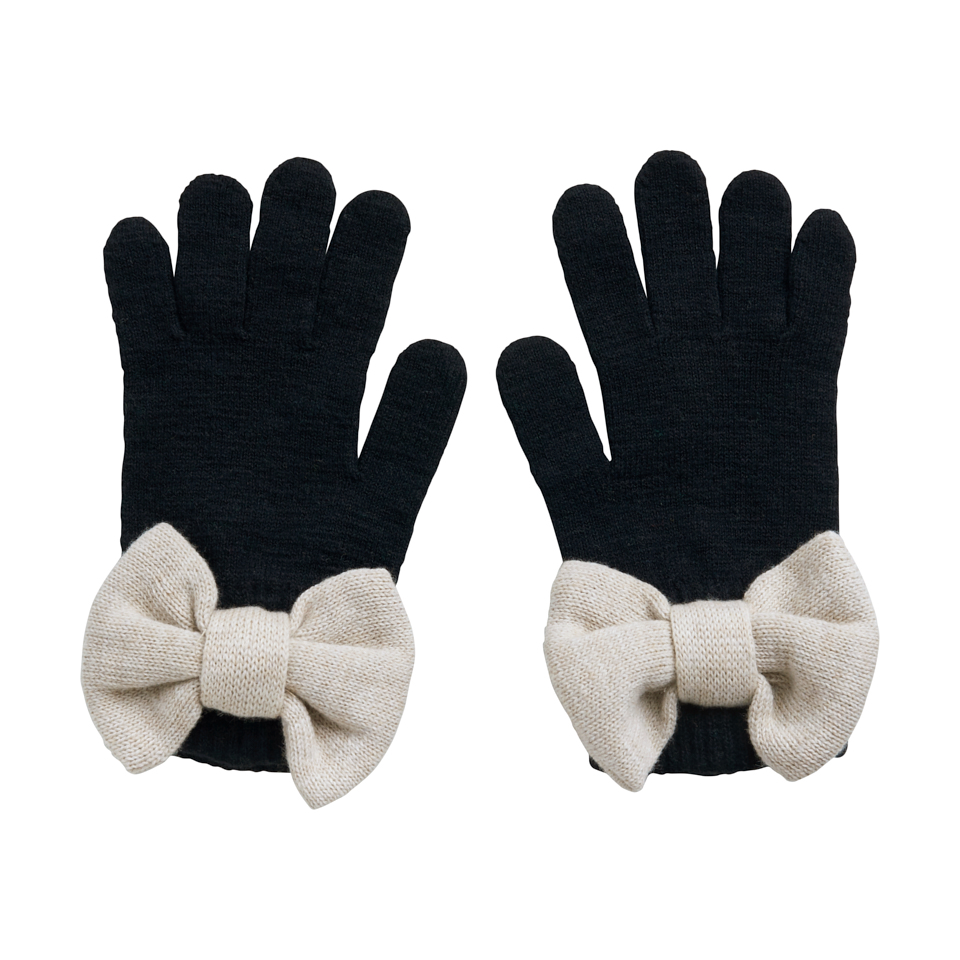 PAPU BOW GLOVES ADULT, BLACK/CREAM