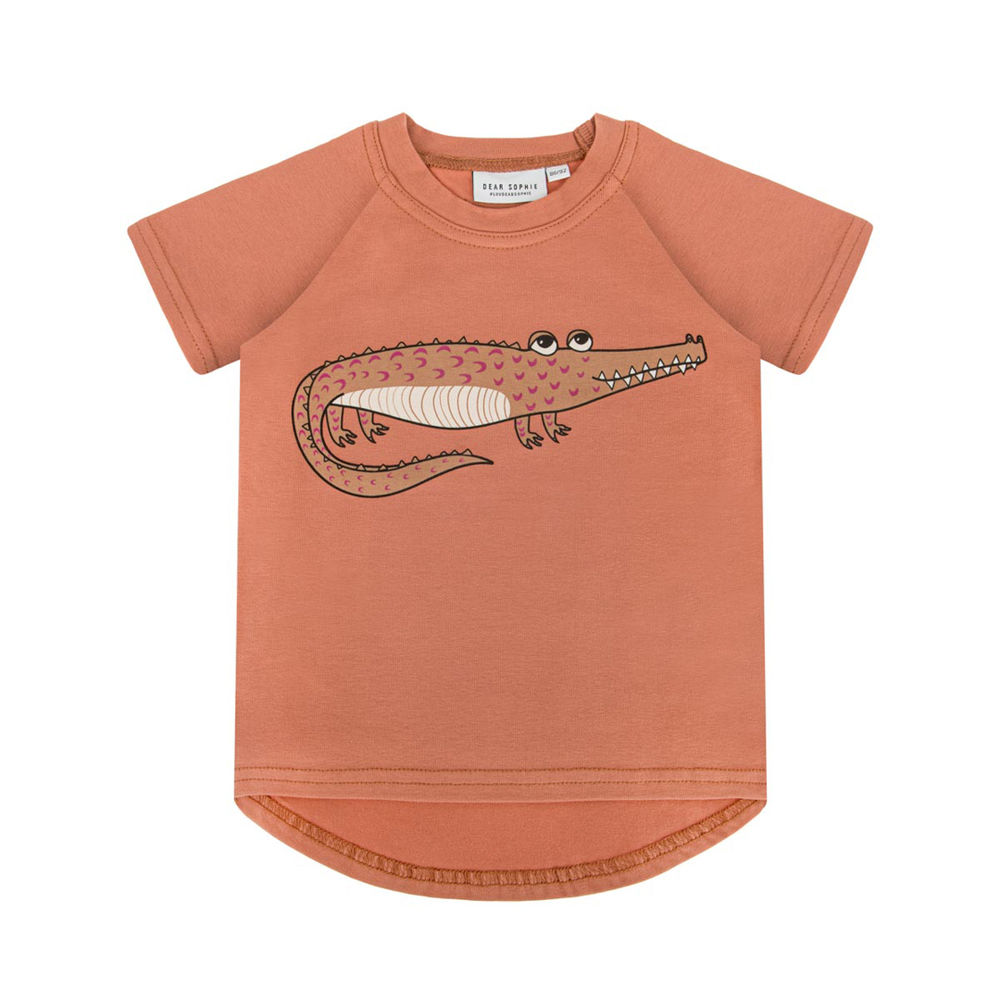 DEAR SOPHIE CROCODILE T-SHIRT, RED BRICK