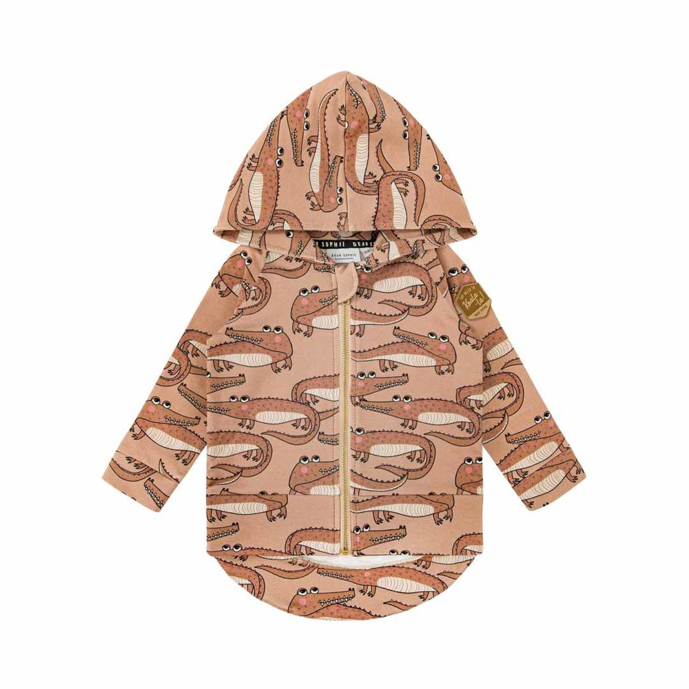 DEAR SOPHIE CROCODILE HOODIE, BROWN