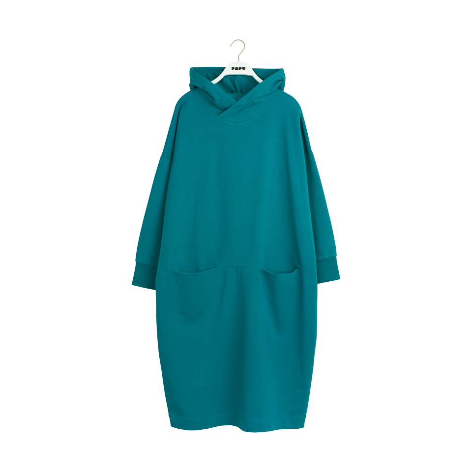 PAPU GIANT HOODIE DRESS ADULT, OCEAN GREEN