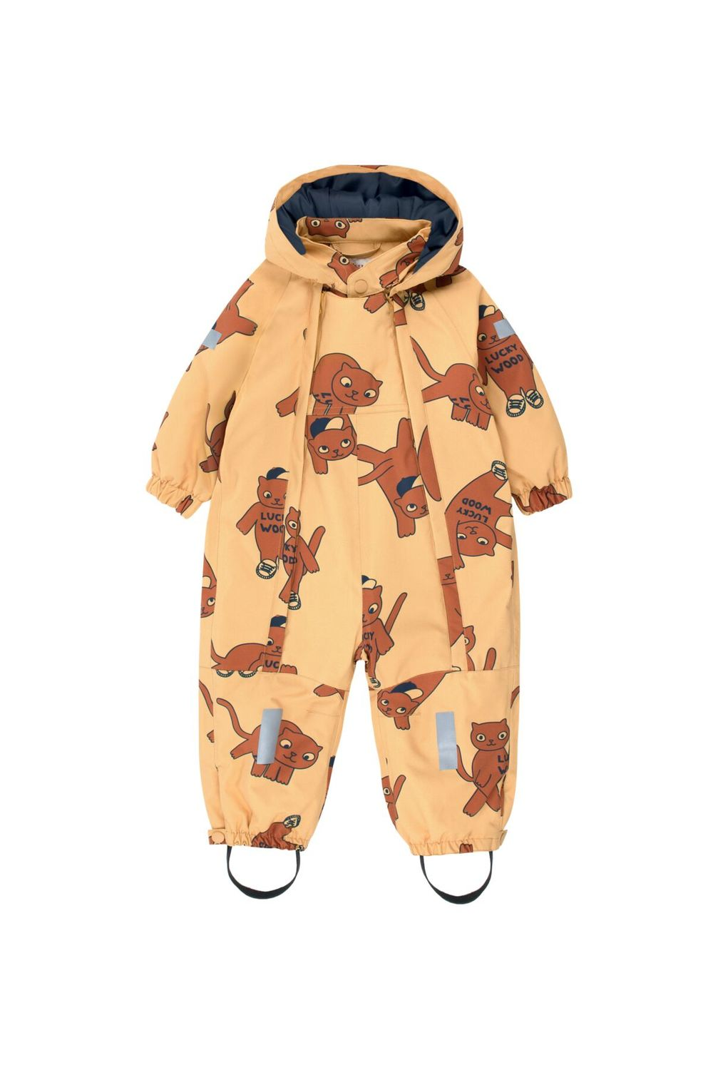 TINY COTTONS CATS SNOW ONEPIECE, SAND