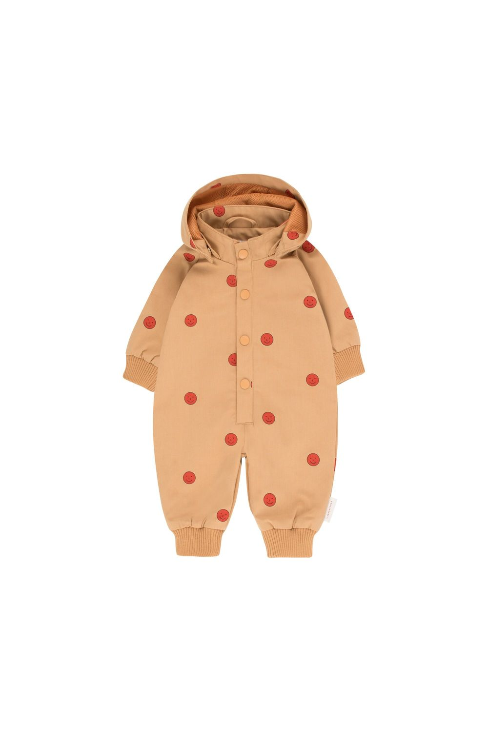 TINY COTTONS HAPPY FACE ONEPIECE, CAMEL/RED