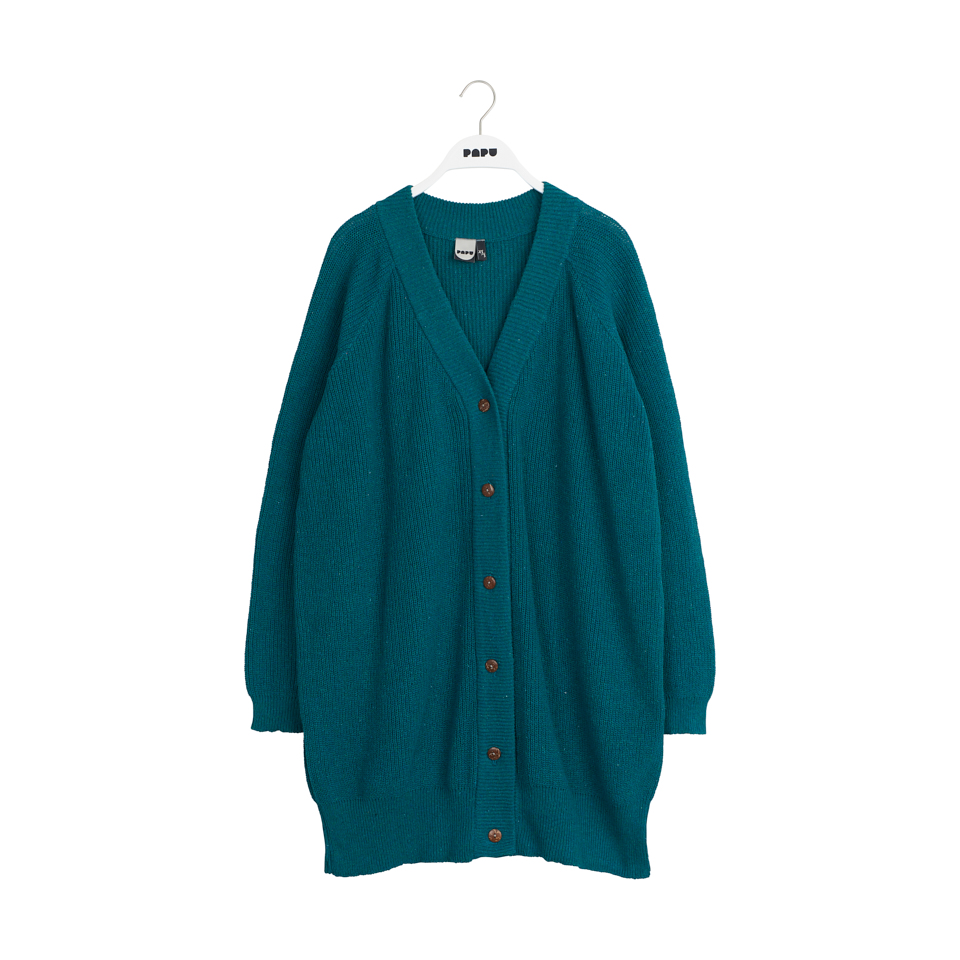 PAPU PATENT LONG CARDIGAN, OCEAN GREEN