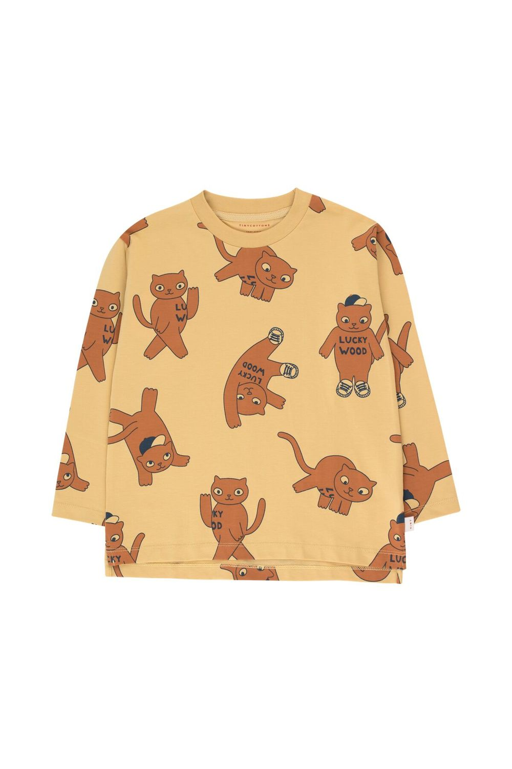 TINY COTTONS CATS LS TEE, SAND