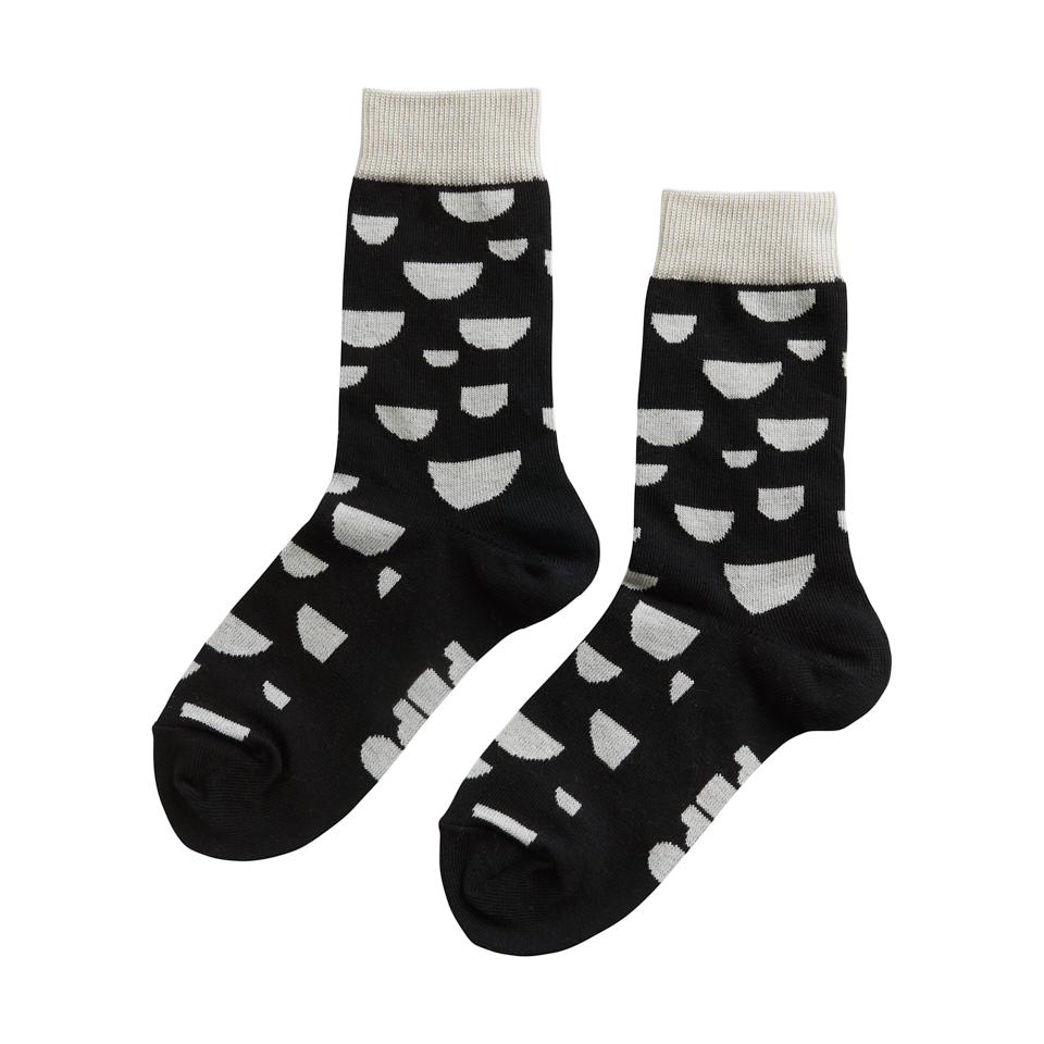 PAPU KNIT SOCKS, BLK/OCR/CREAM