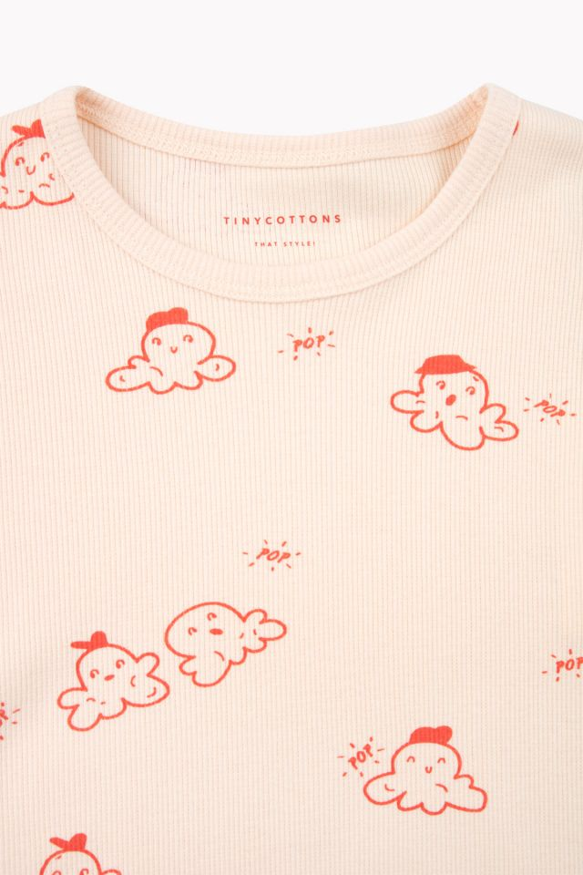 TINY COTTONS POPCORN SS TEE, CREAM/RED
