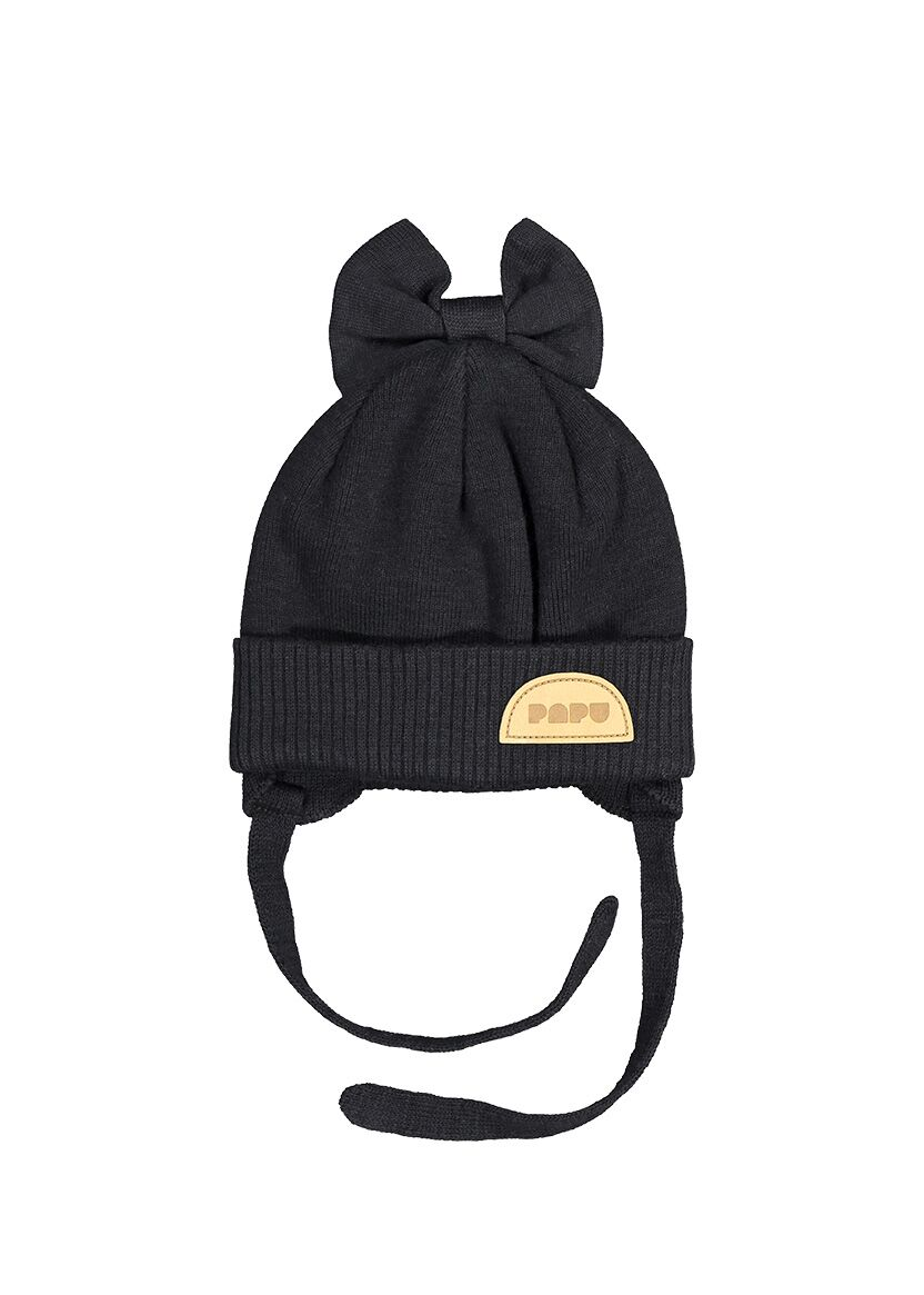 PAPU KNIT BOW BEANIE STRINGS, BLACK