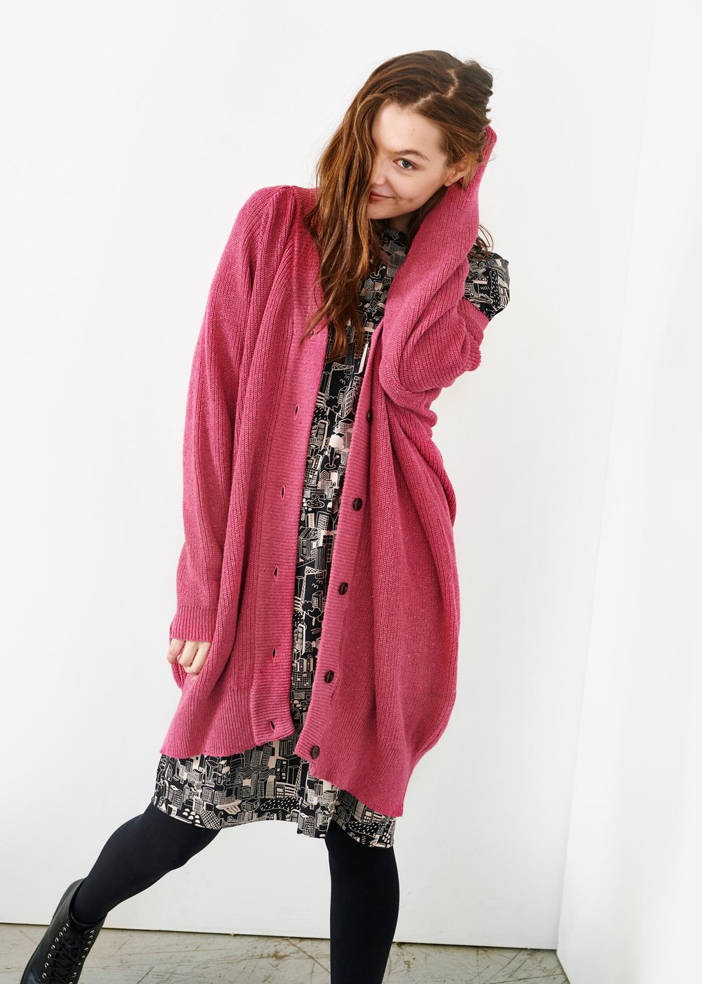 PAPU PATENT LONG CARDIGAN, GENTLE PINK