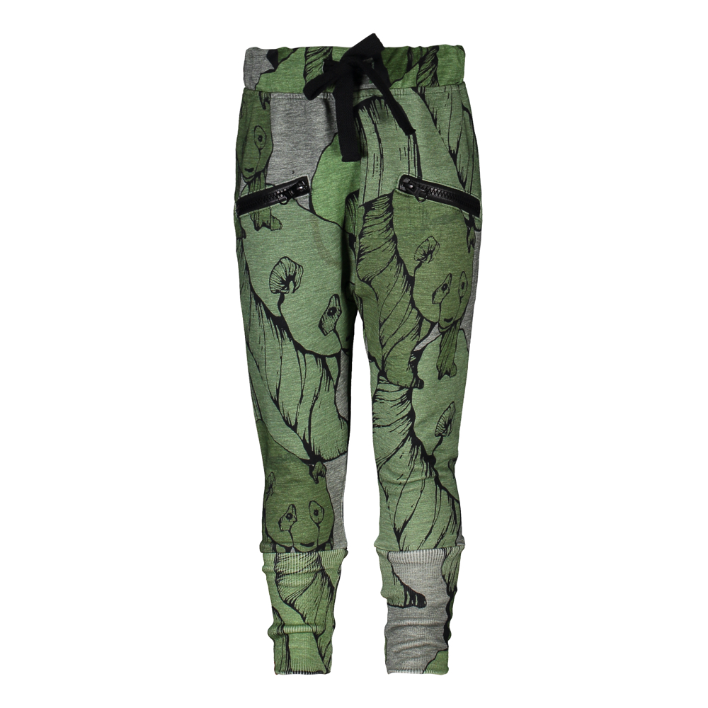 METSOLA CAMO PANDA ZIPPER PANTS, GREEN