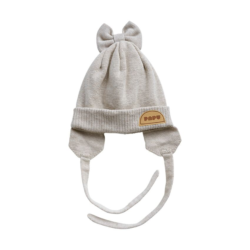 PAPU KNIT BOW BEANIE STRINGS, CREAM MELANGE