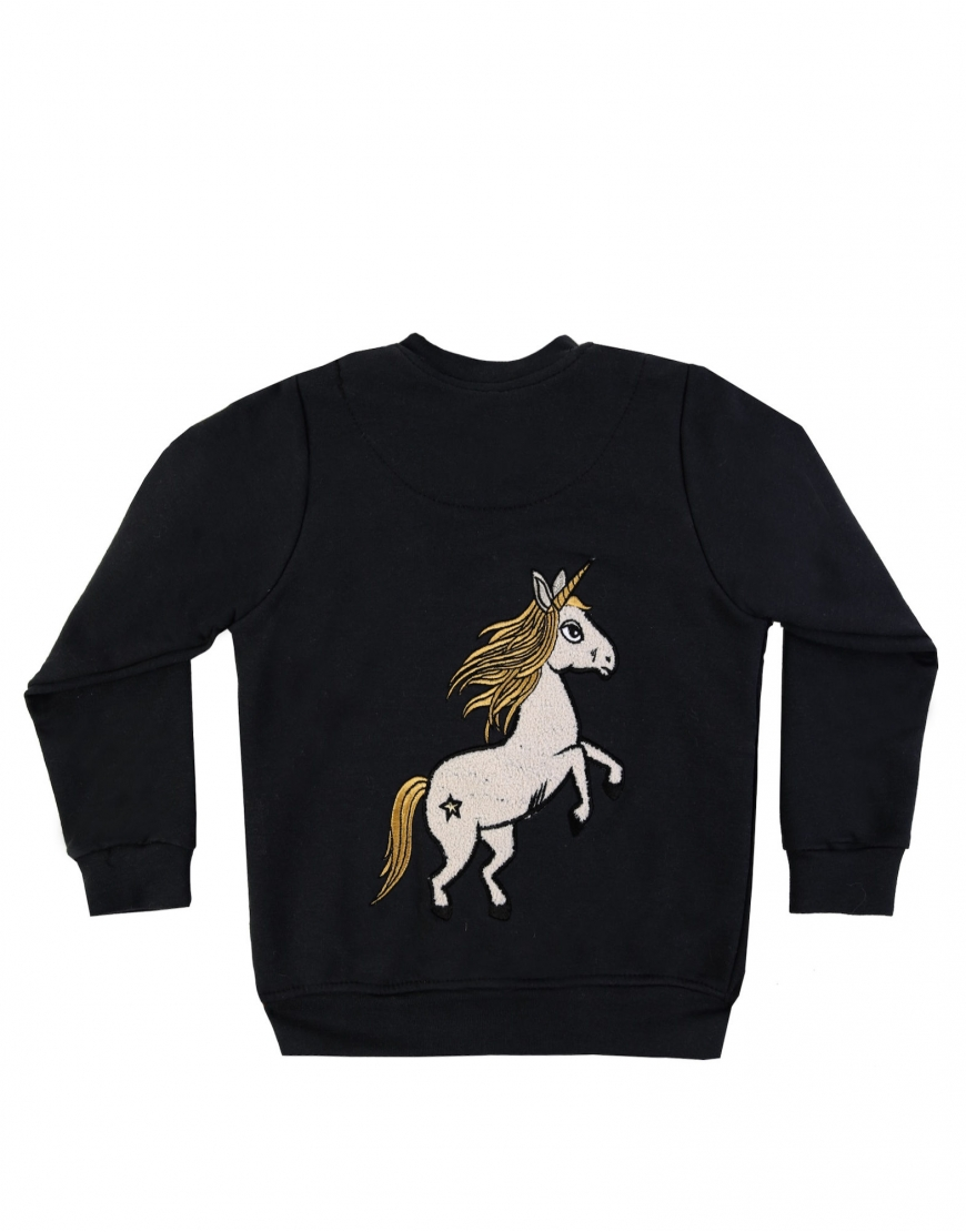 DEAR SOPHIE BLACK UNICORN BOMBER JKT