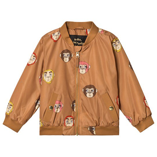 MINI RODINI MONKEY BASEBALL JACKET, BROWN