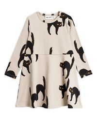 MINI RODINI CATZ LS DRESS, L.GREY
