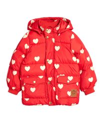 MINI RODINI HEARTS PICO PUFFER JACKET, RED