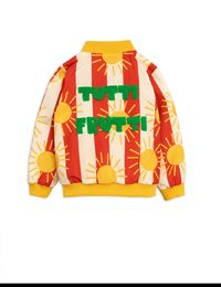 MINI RODINI SUN STRIPE BASEBALL JACKET, RED
