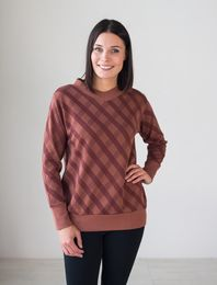 BLAA GDANSK KNITTED SHIRT LS, CHECK BROWN