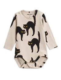 MINI RODINI CATZ LS BODY, LIGHT GREY