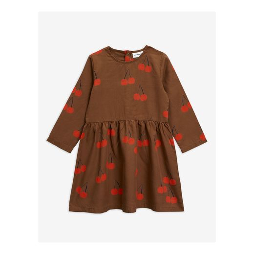 MINI RODINI CHERRY WOVEN LS DRESS, BROWN