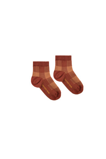 TINY COTTONS CHECK SOCKS,BROWN