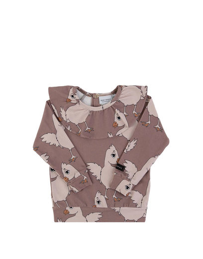 DEAR SOPHIE CHICKEN FRILL LS SHIRT,BROWN