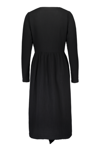 KAIKO WRAP MIDI DRESS, BLACK
