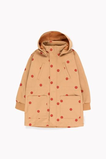 TINY COTTONS HAPPY FACE JACKET,CAMEL/RED