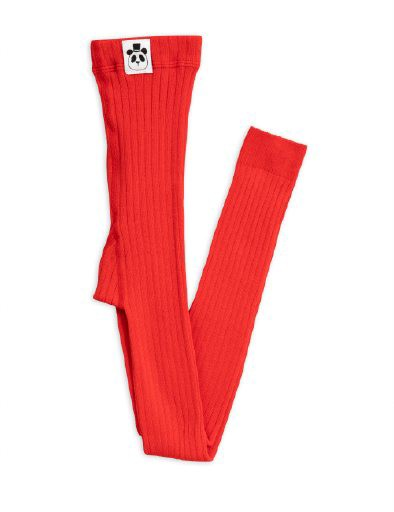 MINI RODINI RIBBED LEGGINGS, RED